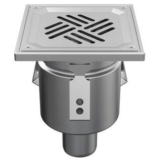 ATT Einteiliger Edelstahlablauf WMK150 mit Schlitz (Perfo) -Raster, Bodenablauf 50 mm
