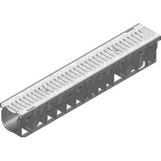 Hauraton Recyfix Pro 100 Abflusskanal Typ 95, l = 1 m, Schlitzgitter aus verzinktem Stahl Klasse A, 15 kN