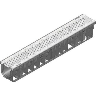 Recyfix Pro 100 Abflusskanal Typ 95, l = 1 m, Schlitzgitter aus verzinktem Stahl Klasse A, 15 kN