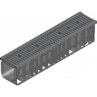 Hauraton Ablaufrinne RECYFIX Pro 150 Typ 01, l = 1 m, Kunststoff Fibretec Spaltlüftungsgitter Klasse B / 125kN