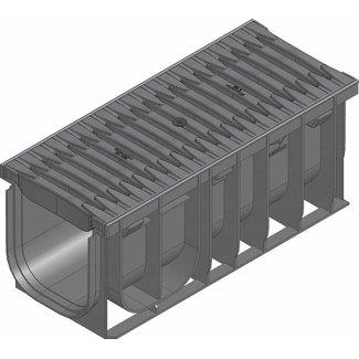 Hauraton Ablaufrinne RECYFIX Pro 150 Modell 0105, l = 0,5m, Kunststoff Fibretec Spaltlüftungsgitter Klasse B / 125kN