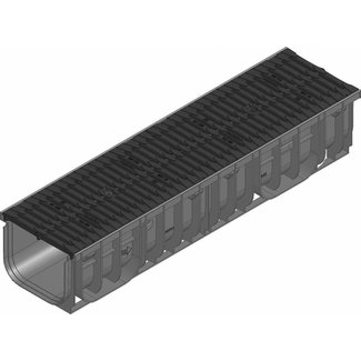 Hauraton Afvoergoot Recyfix Pro 200 type 010, l=1m, kunststof Fibretec sleuvenrooster klasse B, 125KN