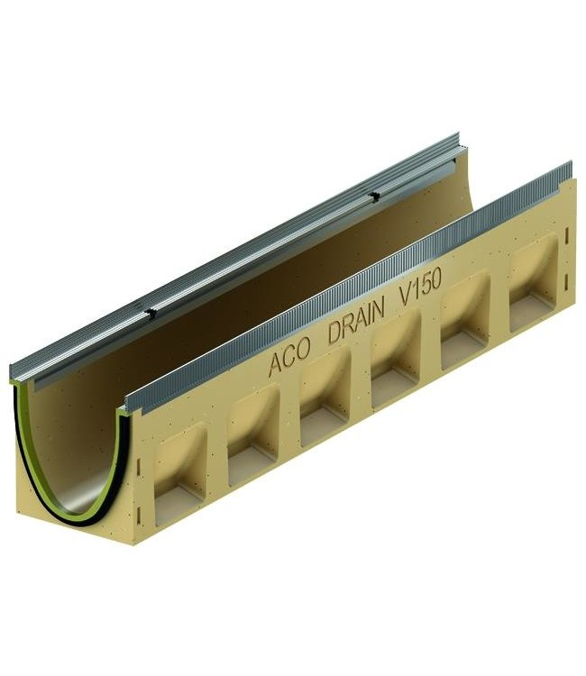 ACO Ablaufrinne Multiline Sealin V150S 0.0, LxBxH = 1000x185x210mm, Randprofil aus verzinktem Stahl
