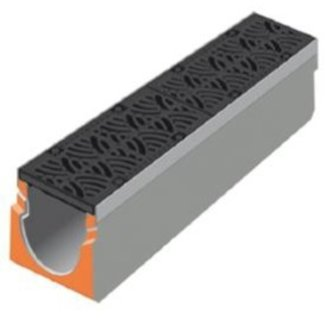 Stradal Grate channel Urban-I 150 with cast iron METEORE grate. L = 1m, class D, 400KN
