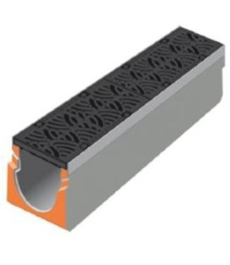 Stradal Grate channel Urban-I 200-300 with cast iron VIBRATION grid. L = 1m, class D, 400KN