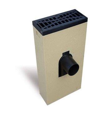 ACO Leitungsgewölbe Multipoint K200KSV. Schlüssel 125 mm vorne, sauberes Gitter abgewinkelt, h = 565 mm