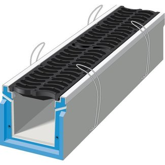 Stradal Grate channel HRI 300 with cast iron BANANE grid. L = 0.75m, class D, 400KN