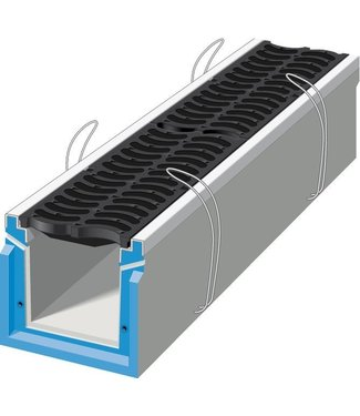 Stradal Grate channel HRI 200 with cast iron SAONE grate. L = 0.75m, class D, 400KN