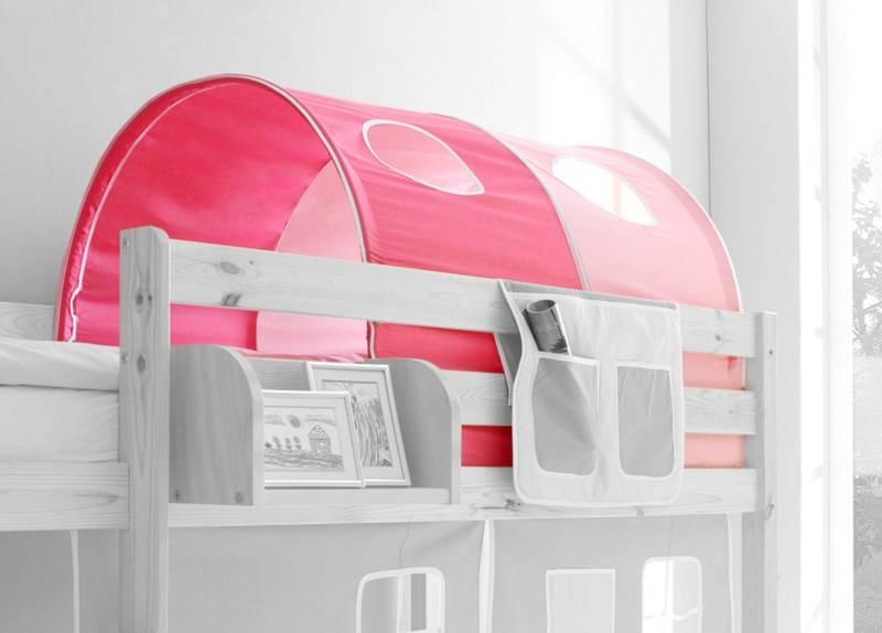Tunnel voor (half)hoogslapers en stapelbedden - roze-pink