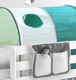 Tunnel voor (half)hoogslapers en stapelbedden - donkergroen-wit (Goal)