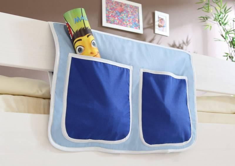 Bedtas voor (half)hoogslapers en stapelbedden - lichtblauw-donkerblauw