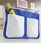 Bedtas voor (half)hoogslapers en stapelbedden - blauw-wit