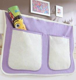 Bedtas voor (half)hoogslapers en stapelbedden - paars-wit