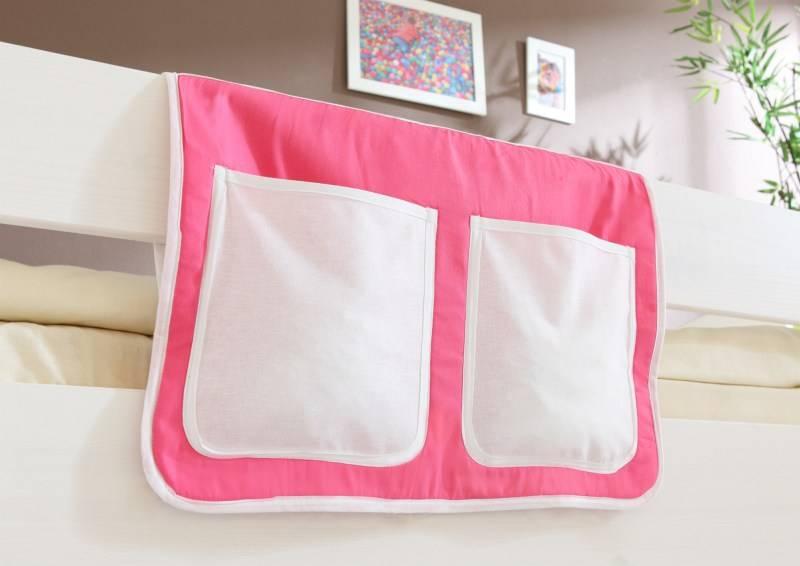 Bedtas voor (half)hoogslapers en stapelbedden - roze-wit