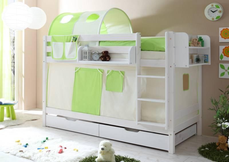Stapelbed Marcel - grenen - wit gelakt - beige-groen - zonder tunnel