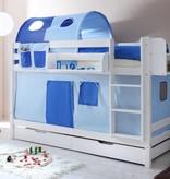 Stapelbed Marcel - grenen - wit gelakt - lichtblauw-donkerblauw - zonder tunnel