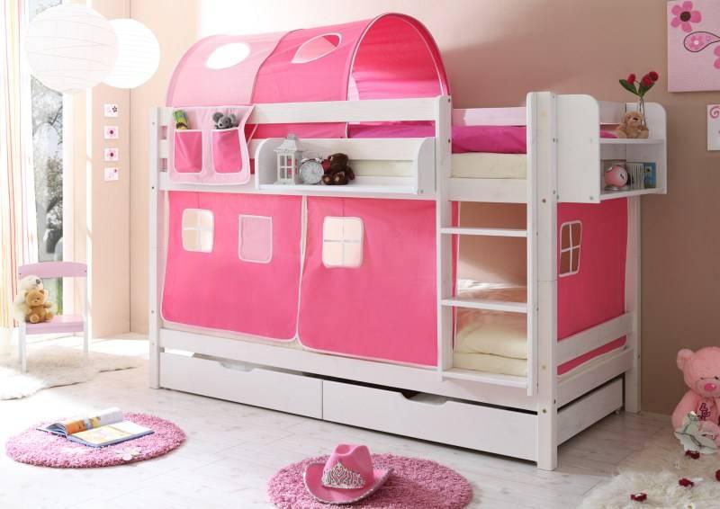 Stapelbed Marcel - grenen - wit gelakt - roze-pink - zonder tunnel
