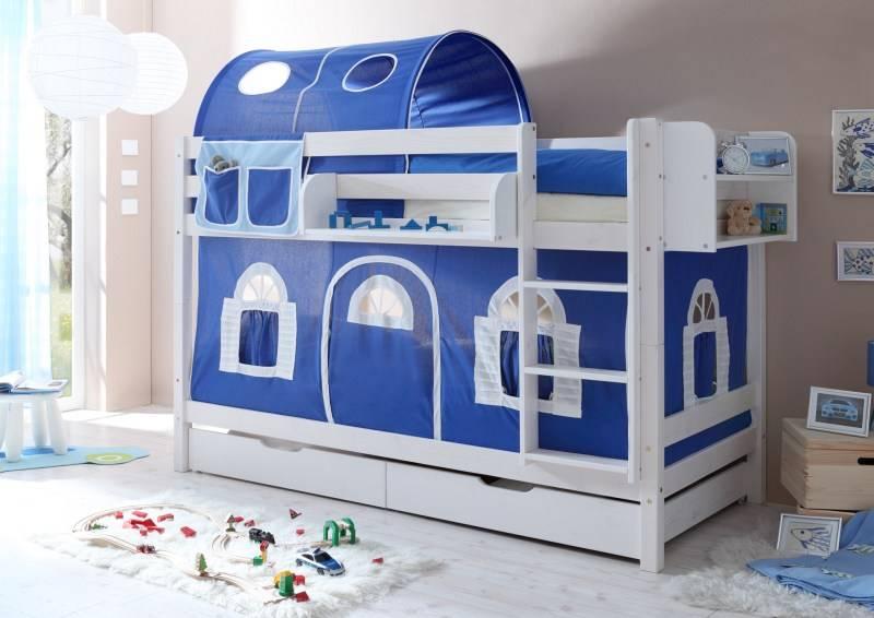 Stapelbed Marcel - grenen - wit gelakt - blauw-wit - zonder tunnel