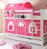Stapelbed Marcel - grenen - wit gelakt - roze-wit - zonder tunnel