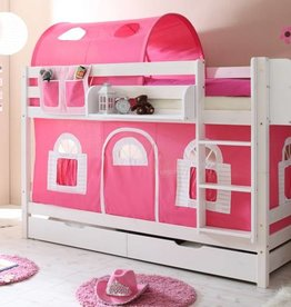 Stapelbed Marcel - grenen - wit gelakt - roze-wit