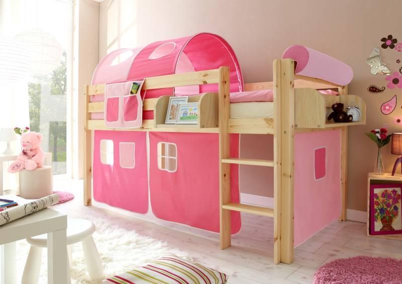 Halfhoogslaper Malte - massief grenen - blank gelakt - kleur roze-pink - zonder tunnel