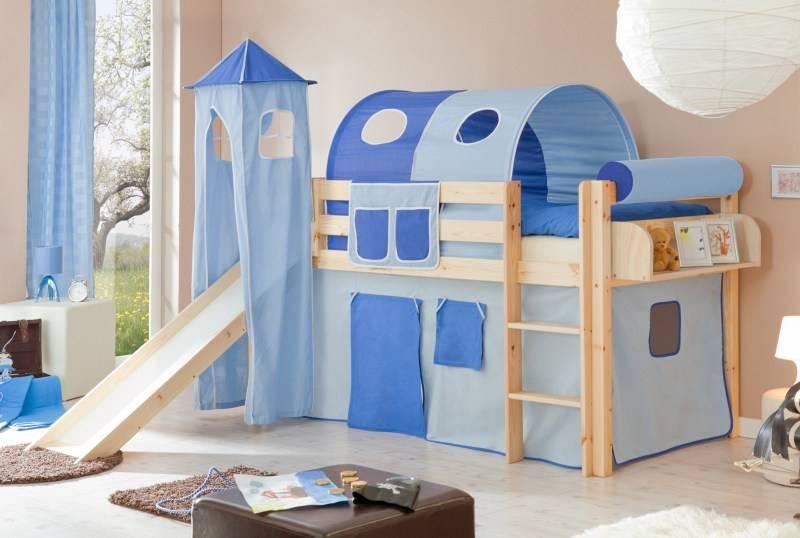 Halfhoogslaper met glijbaan en toren Kasper - massief grenen - blank gelakt - kleur lichtblauw-donkerblauw - zonder tunnel