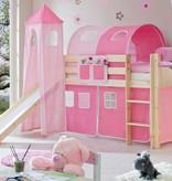 Halfhoogslaper met glijbaan en toren Kasper - massief grenen - blank gelakt - kleur roze-pink - zonder tunnel