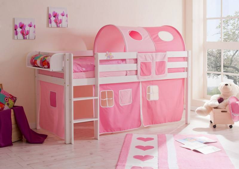 Halfhoogslaper Malte - massief grenen - wit gelakt - kleur roze-pink - zonder tunnel