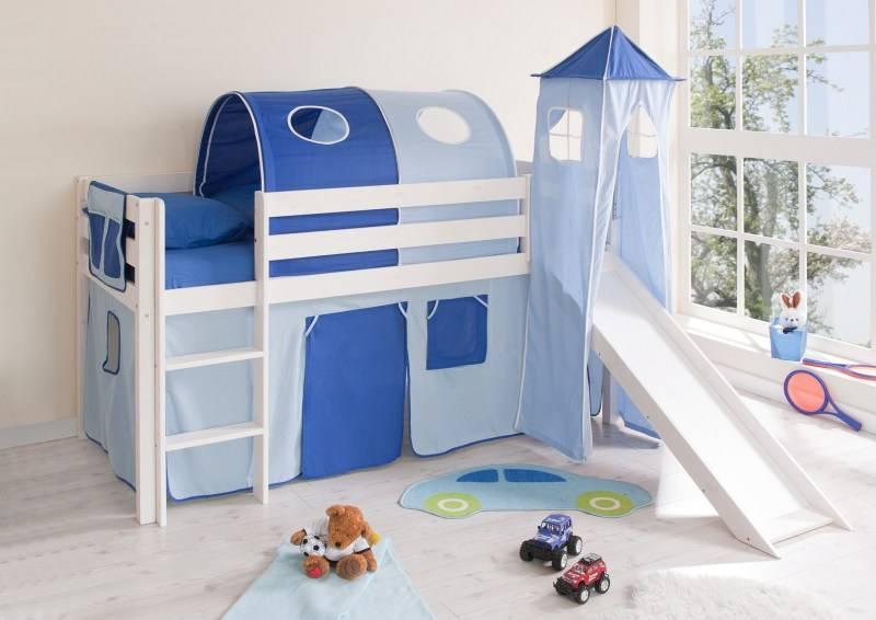 Halfhoogslaper met glijbaan en toren Kasper - massief grenen - wit gelakt - kleur lichtblauw-donkerblauw - zonder tunnel