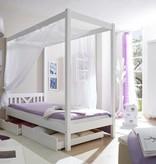 Hemelbed - LaLuna - eenpersoons - wit gelakt - massief grenen - ligoppervlakte 90x200cm