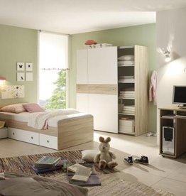 Complete kinderkamer Vicky - sonoma/eiken - gedeeltelijk wit gelakt - kledingkast met zwevende deuren