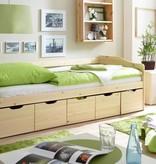 Slaapbank Maria met opbergruimte - blank gelakt - massief grenen - ligoppervlakte 90x200cm