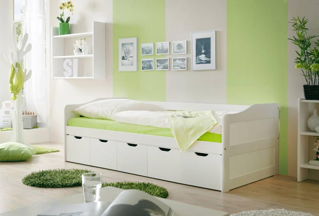 Slaapbank Maria met opbergruimte - wit gelakt - massief grenen - ligoppervlakte 90x200cm