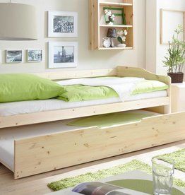 Slaapbank Marianne met uitschuifbaar matraslade - blank gelakt - grenen