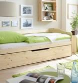 Slaapbank Marianne met uitschuifbaar matraslade - blank gelakt - massief grenen - ligoppervlakte 2x 90x200cm