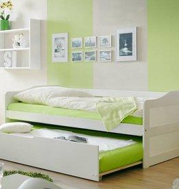 Slaapbank Marianne met uitschuifbaar matraslade - wit gelakt - grenen