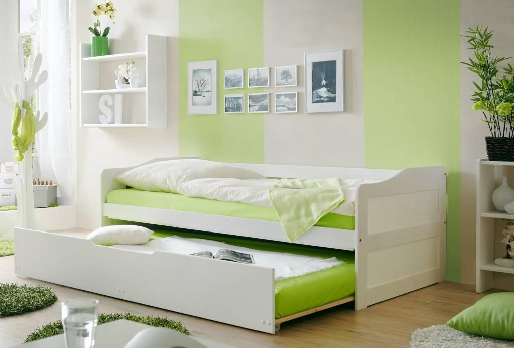 Slaapbank Marianne met uitschuifbaar matraslade - wit gelakt - massief grenen - ligoppervlakte 2x 90x200cm