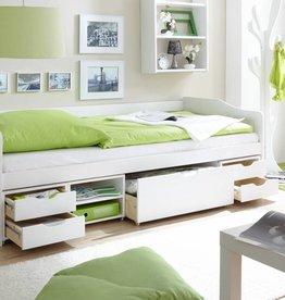 Slaapbank Marlies met opbergruimte - wit gelakt - grenen