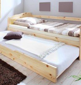 Slaapbank Melinda met uitschuifbaar matraslade - blank gelakt - grenen