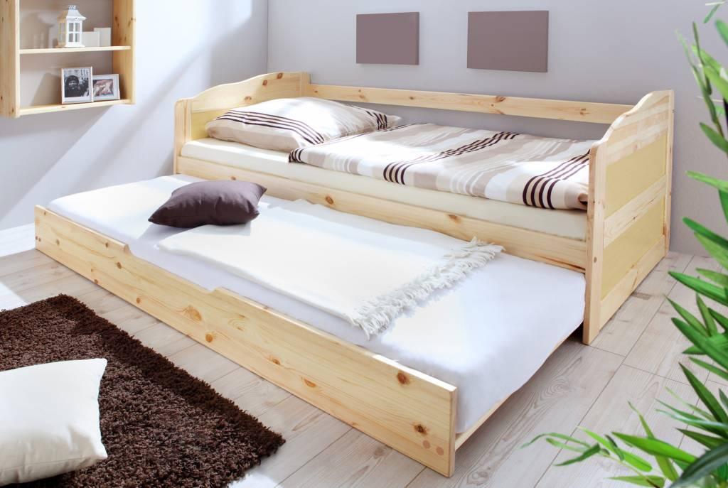 Slaapbank Melinda met uitschuifbaar matraslade - blank gelakt - massief grenen - ligoppervlakte 2x 90x200cm