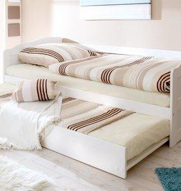 Slaapbank Melinda met uitschuifbaar matraslade - wit gelakt - grenen