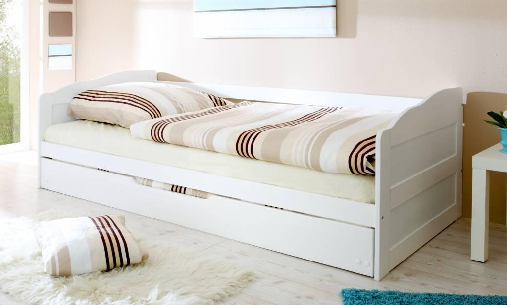 Slaapbank Melinda met uitschuifbaar matraslade - wit gelakt - massief grenen - ligoppervlakte 2x 90x200cm