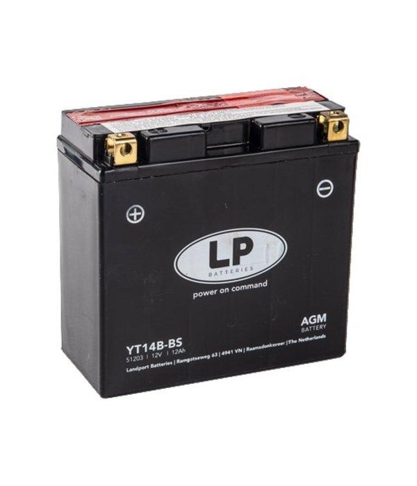 YT14B-BS 12 volt 12,0 ah AGM motor accu