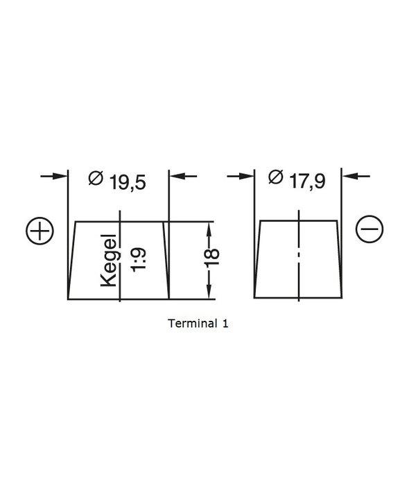 Dynac Auto accu 6 volt 66 ah Type 06612 hard rubber