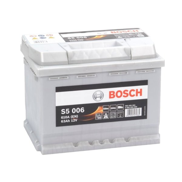 Auto accu 12 volt 63 ah Type S5006 + links