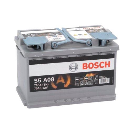 Bosch S5A08 AGM start accu 12 volt 70 ah
