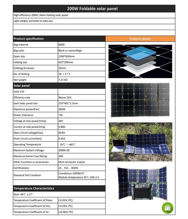 LP 200F-34SP Foldable Energy Solar Panel 34V/200W