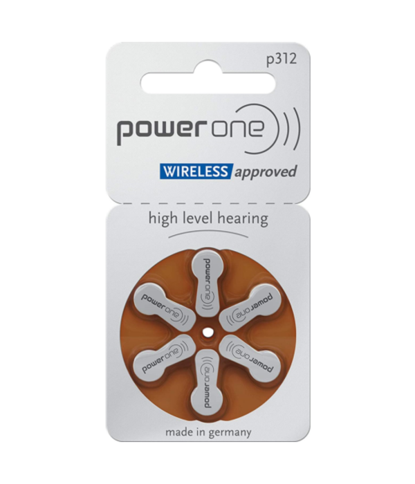 PowerOne Hoorapparaat batterij P312 bruin (6 stuks)