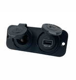Talamex Dubbel flush frame met USB 2.4A en 12V stopcontact