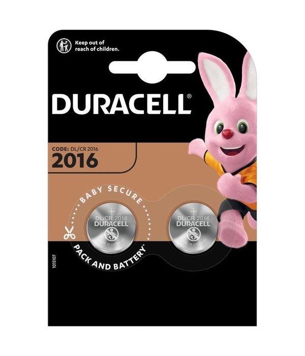 Duracell Knoopcel batterij Lithium CR2016 blister 2